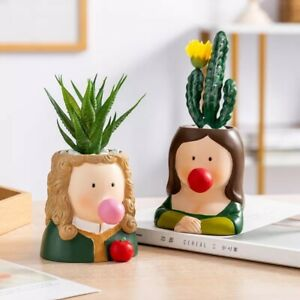 Creative Character Flower  Resin Cartoon Cute Flower Pot Nordic Home Decoration