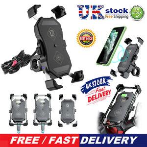 Motorcycle Motorbike Phone Holder Charger Qi Fast Wireless+USB Charging Mount UK