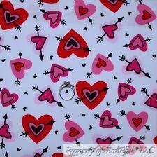 BonEful FABRIC FQ Cotton Quilt White Red Pink Black Arrow Valentine LOVE Heart S