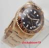 40mm PARNIS Schwarz Dial Rose Gold GMT Sapphire Automatisch movement men's Watch