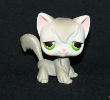 Littlest Pet Shop Lps Gray Angora Cat #20 Green Eyes White Kitty Rare Tuxedo