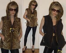 NWT REVERSIBLE FAUX FUR LEOPARD HOODED VEST QUILTED BLACK /ANIMAL PRINT JACKET S