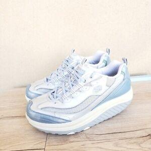 Women's Skechers Silver Blue Shape Ups Toning Walking Sneakers Size 8