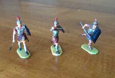 Elastolin Ancient War Lot Of 3 Roman Legion Warriors Spear Javelin Sword Shields