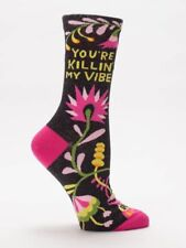 Women's Crew Socks You are killin' My Vibes, Blue Q, Funny, Novelty Funny Gifts