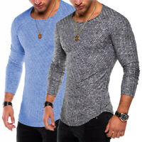 Men Casual Sport Round Neck Long Sleeve Slim Fit Top T-Shirt Muscle Gym Active