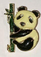Panda Bear Pin Brooch Goldtone Metal Vtg Black White Green Enamel Bamboo Climber