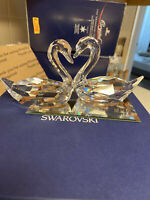 Swarovski Swan Signed Kissing Swans W/mirror