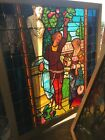 Sg 3021 Antique Painted in fired figural stained glass window 47W by 49