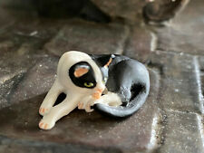 Vintage Mini Dollhouse Artisan Sculpted Animal Pet Black White Cat Licking Paws