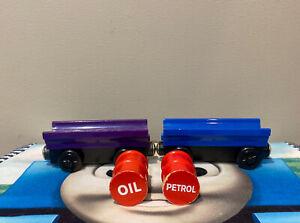 Thomas & Friends Wooden Train PURPLE & BLUE BARREL CARS w/ Oil & Petrol Barrels
