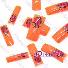 50pcs Acrylic False French Nail Art Full Tips IBN1-0012 Orange Base Red Ladybird