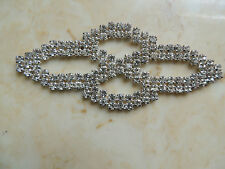 1Pc Sparkling Rhinestone, Dress Costume Silver Tone Sew On Applique