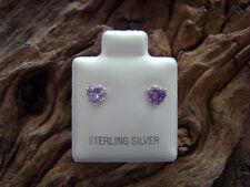 Sterling Silver Cubic Zirconia CZ 5mm Love Heart Birthstone Studs Freepost