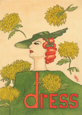 VOGUE POSTER EARLY ADVERTISING DRESS DESIGN - VERY NICE ART DECO EDITION PRINT