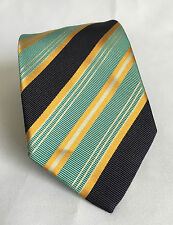 Brioni Men's Textured Neck Tie Turquoise Blue Gold Navy Striped Made In Italy