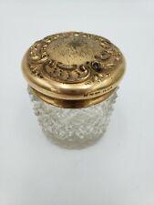 Vintage crystal powder jar with 14k gold plated lid