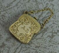 Rare Novelty Georgian 9ct Gold Purse Bag Shaped Mourning Locket Pendant