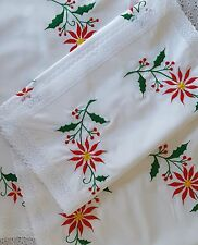 Red Christmas Poinsettia 8 Piece Table Runners & Placemat Set White Lace Linens