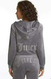 Juicy Couture Women's Ombre Bling Logo Velour Gray Hoodie Track Suit - Large