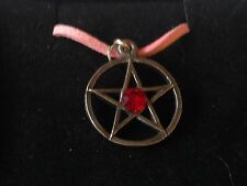 """Red Pentagram code dr91  Made From English Pewter On 18"""" Pink Cord Necklace"""
