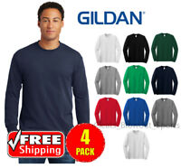 4 PACK Gildan Heavy Cotton Long Sleeve T Shirt Mens Blank Casual Plain Tee 5400