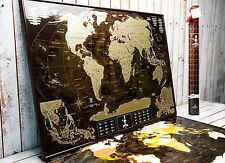 Deluxe Coffee Scratch off map, world map travel poster, Push pin map, Wall decor