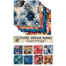 """Paper 24sh 6""""x6"""" # Art Deco Flowers Vintage # FLONZ Craft Scrapbooking 002"""