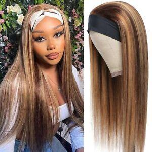 12Inch Brazilian Brown Blonde Long Straight Human Hair Headband Wigs for Women