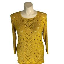 Pretty Angel M Tunic Sweater Top Mustard Yellow Gold Loose Knit Linen Bl Hi Low
