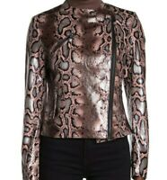 Dolce Cabo Womens Moto Snakeskin Jacket NWT $136 Medium Pink Faux Leather Edgy