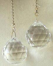 ACRYLIC FACETED BALL CEILING FAN PULLS CHAIN PULLS LIGHT PULLS SET OF 2