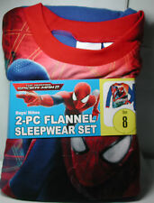New Boys Amazing SPIDERMAN 2  Flannel Pajamas 2 piece Sleep wear Set Size 8