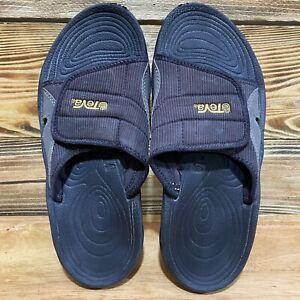 Teva 6117 Mens Size 9 Black Adjustable Casual Flip Flop Slide Walking Sandal