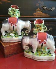 Stunning Chinoiserie English Staffordshire Style Mantle Elephant Spill Vase Pair