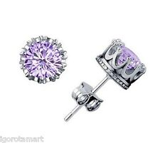 Pair Crystal Rhinestone Crown Round / Square Ear Stud Earrings Piercings