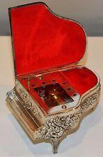 Vintage Piano Music Box Red Filigree Cherub Angel Harp