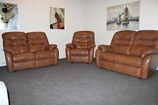 G PLAN WEXCOMBE WESTBURY PAIR OF 2 SEATER SOFAS & MATCHING CHAIR IN TAN LEATHER