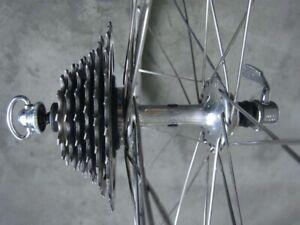 Rennrad Hinterrad, Campagnolo Record, Felge für Drahtreifen, 130mm, 6-speed