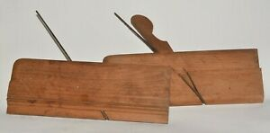 Antique pair of wooden moulding planes Rounds left and right hand Beech