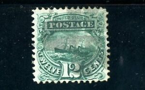 USAstamps Used XF US 1869 Pictorial Issue S.S. Adriatic Scott 117 With Grill