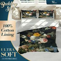 Vase Dutch Floral Flowers Dark Doona Cover Set with Zipper And Pillowcase