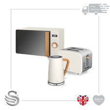 Swan Nordic 1.7 Litre Jug Kettle, 2 Slice Toaster & 800W Microwave White