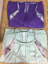 Lot Of 2 Girls Ivivva Double Dutch Tanks With Shelf Bra Size 8 Purple Aqua Cute!