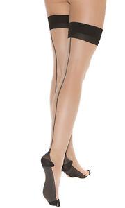 Cuban Foot Heel Back Seam Thigh Highs Hi Nylons Hosiery Stockings 1743