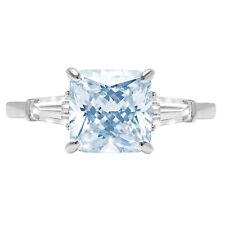 3.5ct Cushion 3 stone Sky Blue Topaz Promise Bridal Wedding Ring 14k White Gold