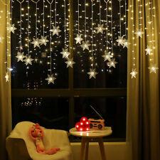 7 Colors Xmas LED Curtain Window Snowflake String Fairy Lights Waterproof Decor