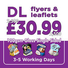 2500 DL Full Colour Single Sided Flyers / Leaflets Printed 130gsm Gloss