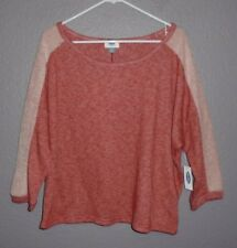 Old Navy Coral & Off White Raglan Top 3/4 Sleeve Women's Size Medium  NWT