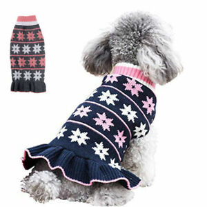 Winter Dog Turtleneck Sweater Dress Pet Knitted Coat Pullover for Small Dogs Cat